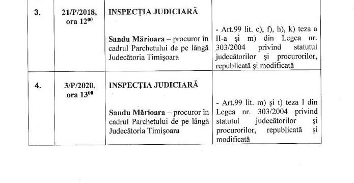 Dosar disciplinar cu 6 capete de acuzare pentru un procuror timișorean