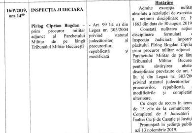 Procurorul militar Bogdan Pîrlog câștigă o bătălie în războiul dus împotriva Inspecției Judiciare