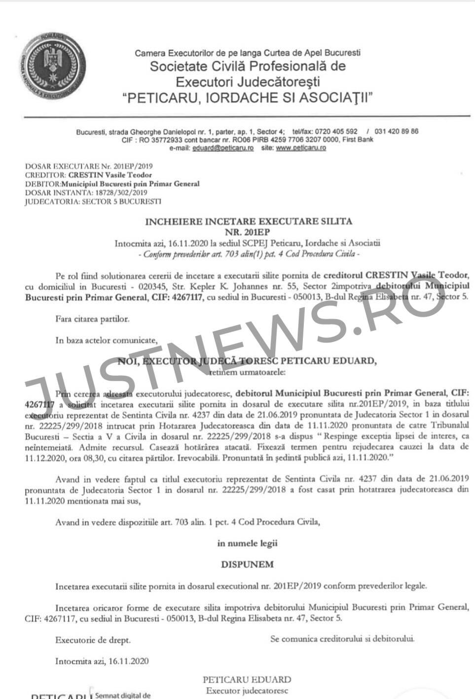 Complicități mîrșave (4): Executorul judecătoresc blochează în sfârșit acordul de plată de 22,7 milioane de euro dintre PMB și afaceristul Vasile Theodor Creștin