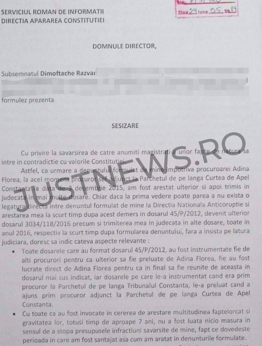 Judecătorii resping cererea de întrerupere a pedepsei depusă de afaceristul Răzvan Dimoftache / El o denunțase, fără succes, și pe procuroarea Adina Florea