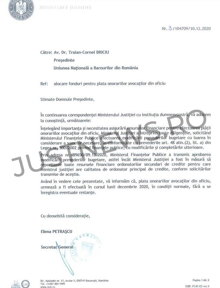Ministerul Justiției dă asigurări că plata onorariilor avocaților din oficiu va fi efectuată în condiții normale, fără întârzieri
