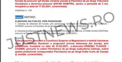 Un trimestru procuror, apoi la pensie / Flavius Crâznic se pensionează la trei luni după ce a revenit în magistratură
