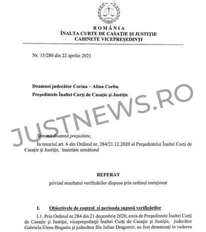 Instanța supremă publică integral Referatul cu privire la rezultatul verificărilor vizând repartizarea aleatorie a cauzelor pe completuri de judecată