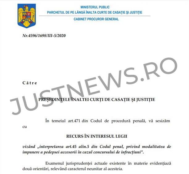 """Ministerul Public cere instanței supreme să admită un RIL în materie penală vizând """"modalitatea de impunere a pedepsei accesorii în cazul concursului de infracțiuni"""""""